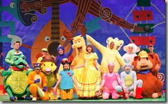 The entire cast of STORYTIME LIVE!, including Dora in her princess costume!  Photo by Carol Rosegg