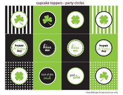 st pattys day cupcake toppers