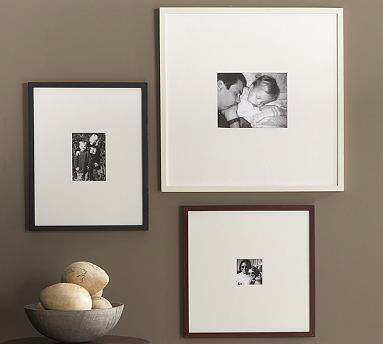 pottery barn is a great source for gallerymuseum trend frames you can choose larger frames mats with smaller photo opening help you achieve a gallery