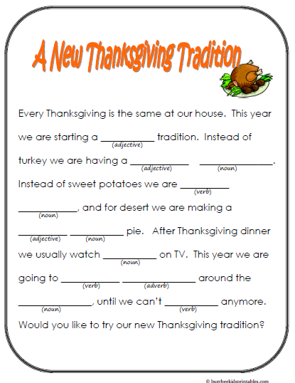 Kids Thanksgiving Placemats amp Activity