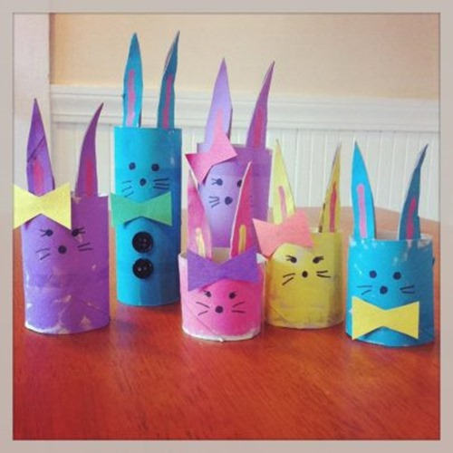 cardboard bunny family