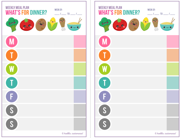 Get Organized Part Ii 15 Free Meal Planning Printables