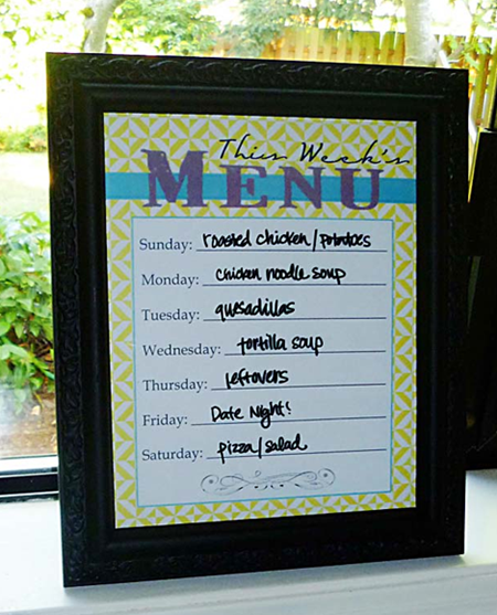 meal plan framed