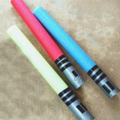 pool noodle light sabers