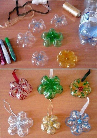 plastic bottle snowflakes